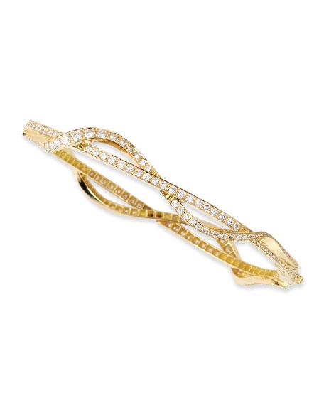 Paul Morelli Small 18k White Gold & Diamond Nouveau Bangle Bracelet