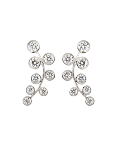 RINA LIMOR 18K White Gold & Diamond Climber Earrings