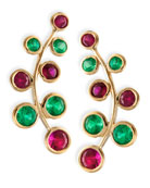 18k Yellow Gold Vine Earrings with Rubies & Emeralds