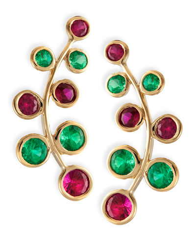 RINA LIMOR 18K Yellow Gold Vine Earrings With Rubies & Emeralds