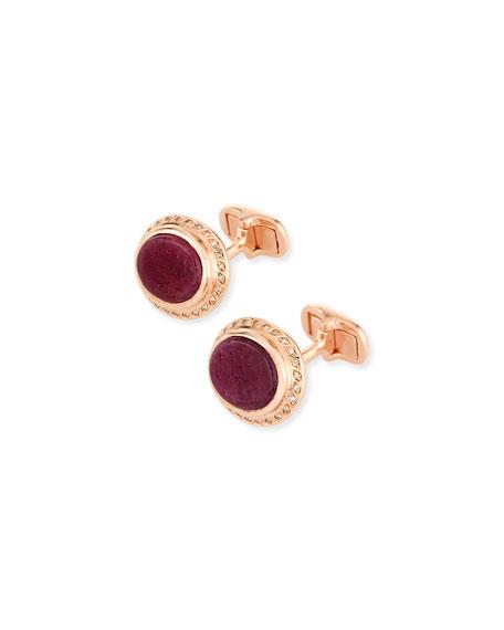 Marco Dal Maso Ruby Sapphire & Diamond Cufflinks in 18K Rose Gold