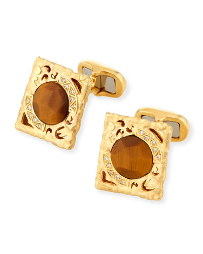 Tiger Eye & Diamond Cufflinks in 18K Gold
