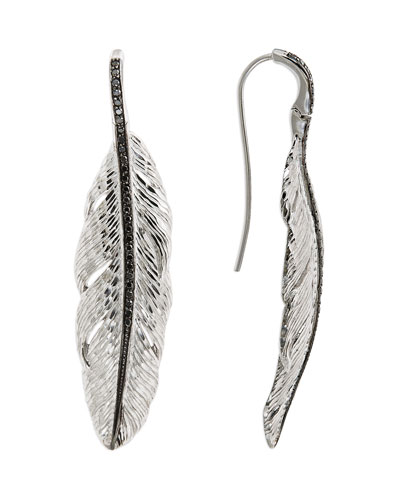 Medium Feather Drop Earrings with Diamonds