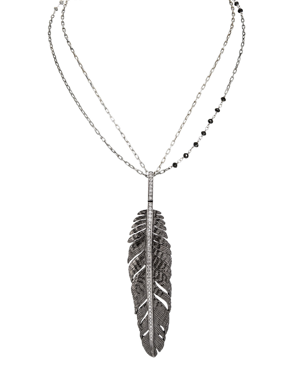 Rhodium-Plated Silver Feather Pendant Necklace with Diamonds