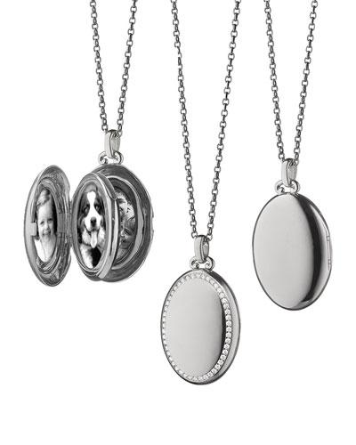 18k White Gold & Diamond Oval Locket Necklace