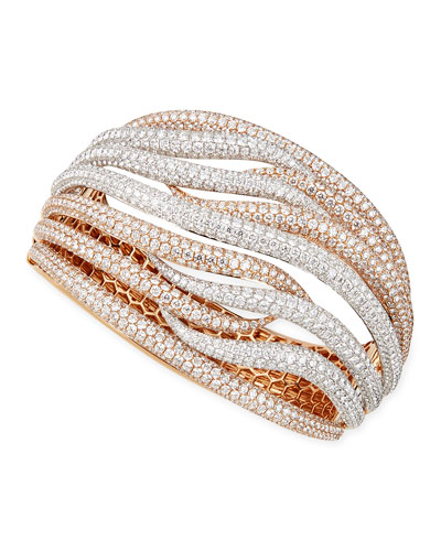 18k White & Rose Gold Fantasia Pave Diamonds Crossover Bangle, 27.47 TCW ...
