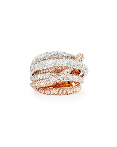 18k White & Rose Gold Fantasia Pave Diamonds Crossover Ring