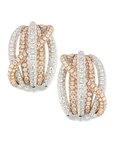 18k Rose & White Gold Pave Diamond Crossover Earrings