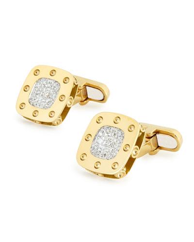 Pois Moi 18k Yellow Gold Square Diamond Cuff Links