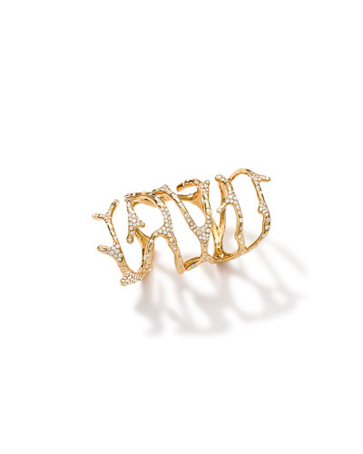 18k Gold Stardust Branch Long Ring with Diamonds