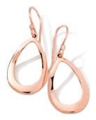 18K Rose Gold Smooth Open Teardrop Earrings, 32mm