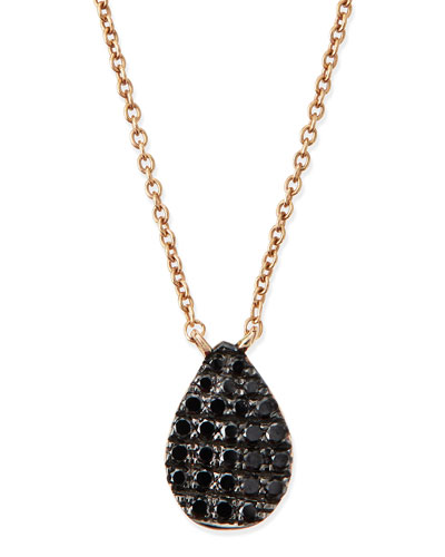 Rose Gold Black Diamond Teardrop Necklace