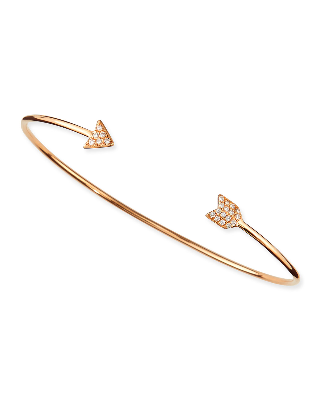 Rose Gold Diamond Arrow Bangle