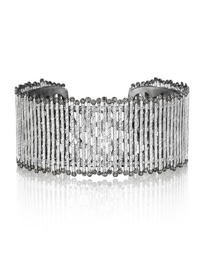 Spring Sterling Silver Cuff with Diamonds