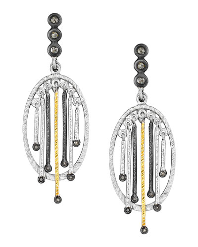 Spring Tricolor Earrings with Diamonds