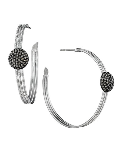 Spring Silver Hoops with Diamond Spheres