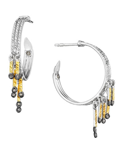 Spring Tricolor Hoop Earrings with Diamonds