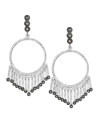 Spring Silver Open-Circle Earrings with Diamonds