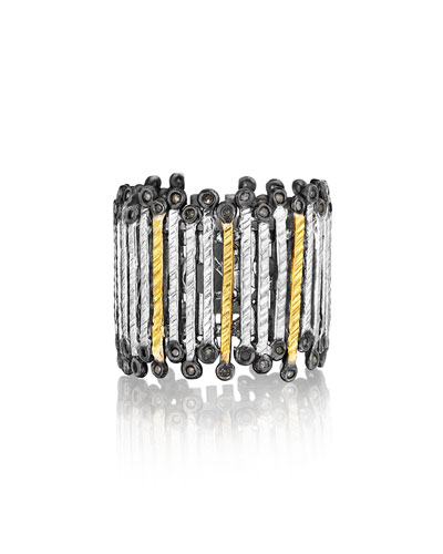 Spring Tricolor Gold & Silver Band Ring, Sz 6