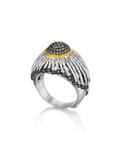Spring Silver Ring with Gold Dome & Diamonds, Sz 7