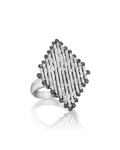 Spring Silver Diamond-Shaped Ring, Sz 7