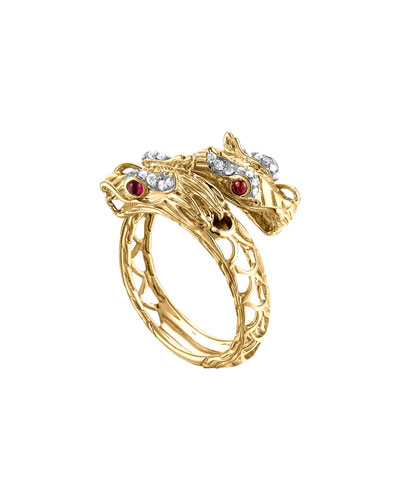 Naga 18k Gold, Diamond & Ruby Gold Ring