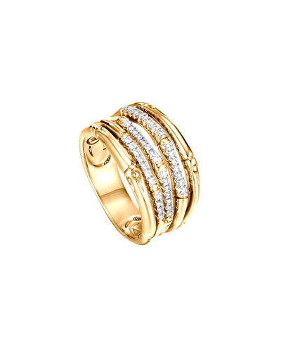 Bamboo 18K Yellow Gold Diamond Pave Wide Ring in Gold/ Diamond