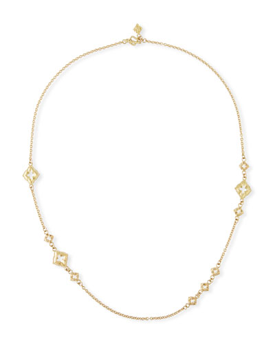 18k Clover Scroll Diamond Necklace