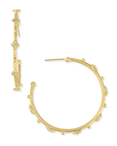 Sueno 18k Diamond Cravelli Hoop Earrings, 35mm