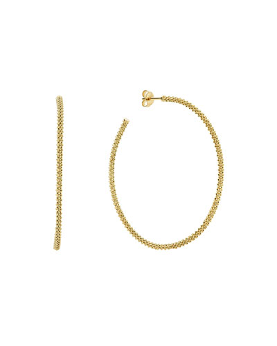 18k Gold Caviar Beaded Hoop Earrings, 50mm