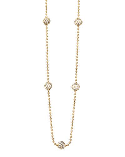 18k Gold Necklace with 5 Pave Diamond Stations