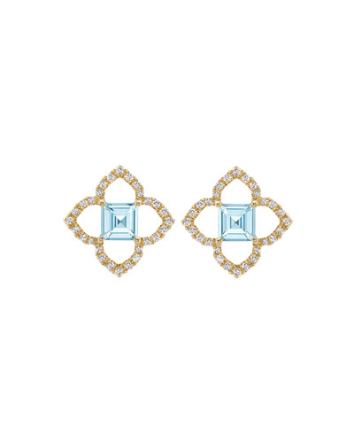 Aurora Blue Topaz and Diamond Earrings
