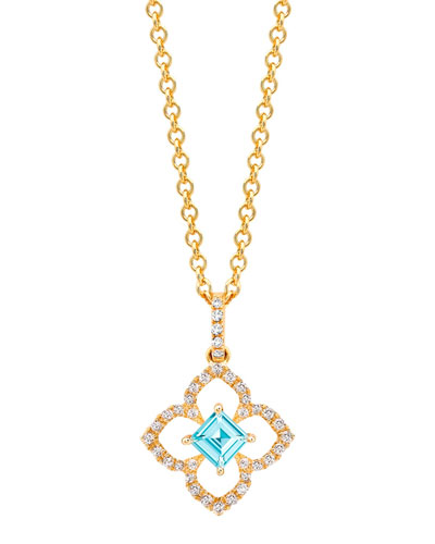Aurora Blue Topaz & Diamond Pendant in 18k Gold