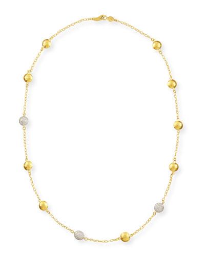 Mini Lentil Ice 3-Diamond-Station Necklace
