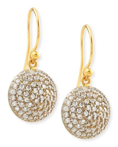 Lentil Ice 24k Gold & Diamond Dangle Earrings
