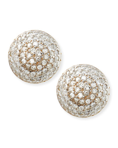 Lentil Ice 24k Gold & Diamond Button Earrings
