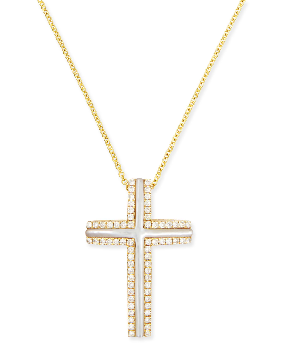 FREDERIC SAGE LARGE 18K YELLOW GOLD CROSS NECKLACE WITH MOTHER-OF-PEARL & DIAMONDS