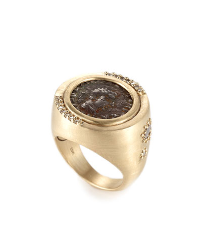 Antiquity 20k Two-Sided Coin Ring with Diamonds