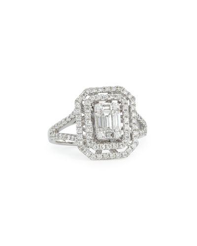 Emerald-Cut Diamond Ring with Illusion Setting and Double Halos