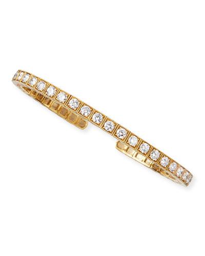 18k Yellow Gold Flex Bangle with White Diamonds