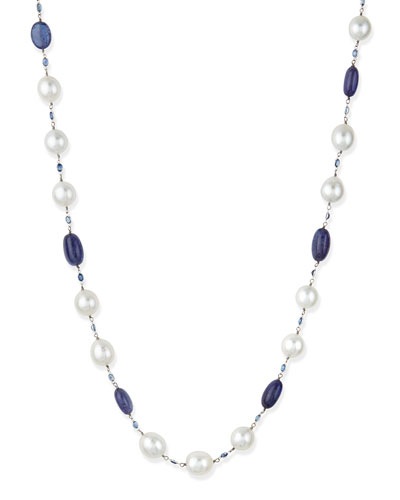 Aura Blue Tanzanite, Sapphire & South Sea Pearl Necklace