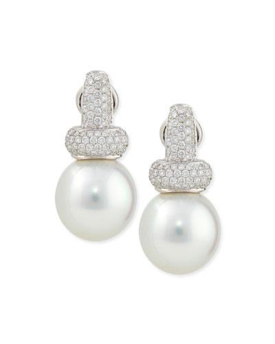 Avenue Diamond & White Pearl Earrings