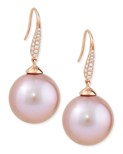 Aura Diamond & Pink Kasumiga Pearl Earrings