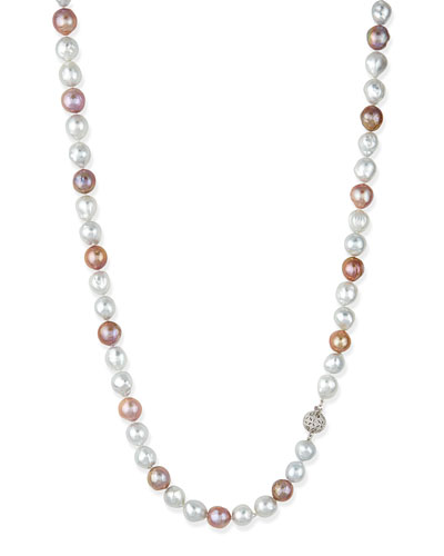 Pink & White Opera Pearl Necklace with Diamond Clasp