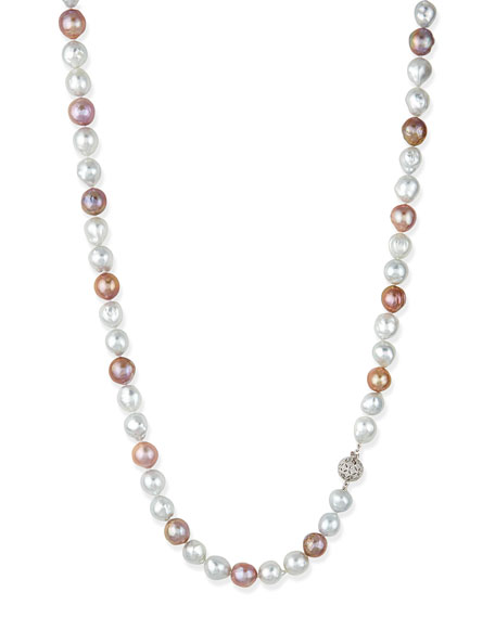 Belpearl Pink & White Opera Pearl Necklace with Diamond Clasp