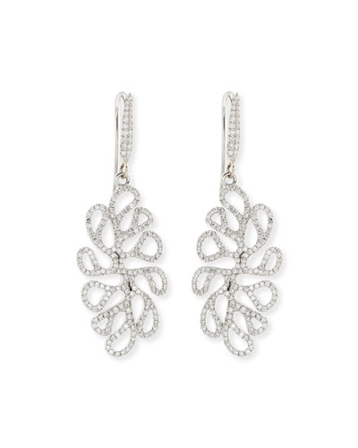 Sealeaf Collection 18k White Gold Diamond Earrings