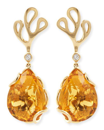Sealeaf Collection 18k Yellow Gold Diamond & Citrine Earrings