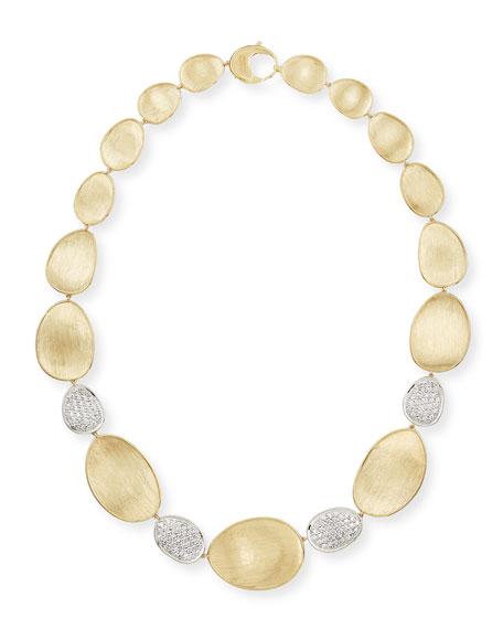 "Marco Bicego Diamond Lunaria 18k Gold 4-Pave Necklace, 18""L"
