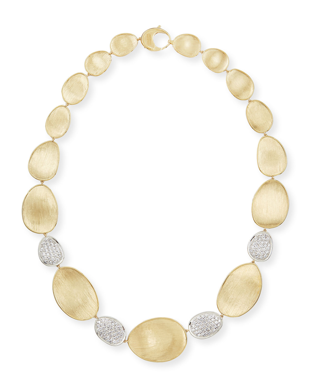 Diamond Lunaria 18k Gold 4-Pave Necklace