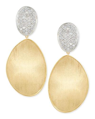 Large Diamond Lunaria 18k Gold Double-Drop Earrings